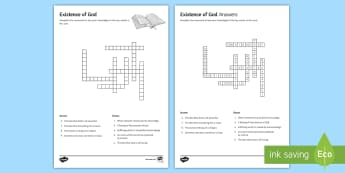 Existence of God and Revelation Crossword - God; Revelation