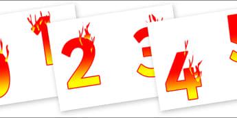 0-9 Display Numbers (Fire) - Display numbers, 0-9, numbers, display numerals, display lettering, display numbers, display, cut out lettering, lettering for display, display numbers