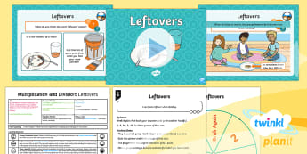 * NEW * PlanIt Maths Y2 Multiplication and Division Lesson Pack Exploring Remainders (1) - Multiplication and Division, remainder, left over, equal groups, predict, reason, multiplication and
