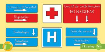 * NEW * Letreros: En el hospital Spanish / Español - Medicina, médico, médica, salud, hospital, enfermero, enfermería, enfermero, enfermedad, enfermed