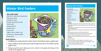 How to Make a Winter Bird Feeder Step-by-Step Instructions - Winter, Birds, Understanding the World, The World, Seasons,  Care, Concern, look after, Animals, EYF