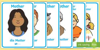 My Family Display Poster English/German - parents, siblings, grandparents, EAL, German, English-German,,German-translation