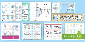 KS1 Capacity Resource Pack - KS1 Maths, capacity, measurement, measure, millilitres, litres, holds,