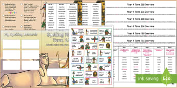 Year 4 Ancient Egyptian Themed Spelling Menu Pack - spag, gps, home learning, weekly, lists, test, spelling patterns, practise