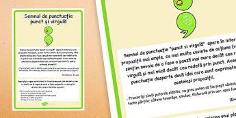 Semnul de punctuație punctul și virgula - Planșă - semne de punctuație, punct și virgulă, planșă, de afișat, materiale didactice, română, romana, material, material didactic