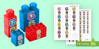 Spring Flowers Number Bonds to 10 Matching Connecting Bricks Game - EYFS Connecting Bricks Resources, Duplo, Lego, plastic bricks, spring, seasons, flowers, Maths, numb