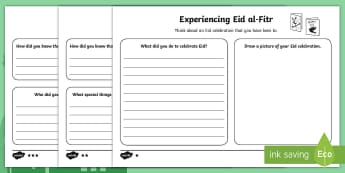 Eid al-Fitr Celebration Writing Activity Sheet  - Eid al-Fitr (KS1) 25th June 2017, islam, muslim, festival, ramadan, fasting, celebration, year one,