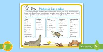 Hoja informativa: Hábitats - Las costas - animales, clasificación, hábtats, donde viven, grupos