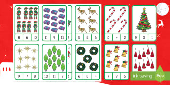 Christmas Number Recognition Clip Cards - Number Skills, One-to-one Recognition, Math center, center activity, hands-on math activity, fine mo