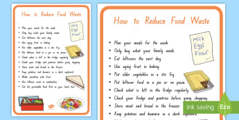 How to Reduce Food Waste Display Poster - tidy kiwi, New Zealand, rubbish, recycling, Years 1-6, food waste