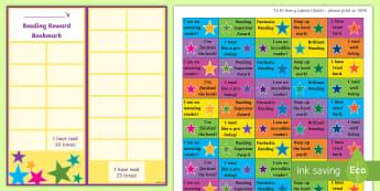 KS2 Star Themed Reading Sticker Reward Bookmarks - Y3, Home Readers, Reading Log, Stickers, Motivation