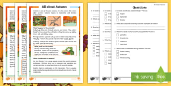 All about Autumn Differentiated Comprehension Activity Sheets - All about Autumn Differentiated Comprehension Activity Sheets - autumn, Seasons, autumn Reading comp