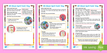 KS1 April Fools' Day Differentiated Fact File - EYFS/KS1 April Fools Day (1st April), EYFS/KS1 April Fools Day,1st April, KS1, Y1, Y2, Year 1, Year