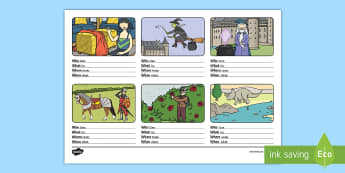 Who, What, Where, When Sentence Building Activity Sheet English/Romanian - story setting, build, writing, worksheet, EAL