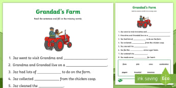 Grandad's Farm Fill in the Blanks Activity Sheet - worksheet,, Aistear, Exploring My World, Story, Farm, Animals, Tractor, Pig, Cow, Chicken, Literacy,