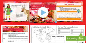 A Christmas Crisis - Geography Challenge Lesson Pack - santa, world map, time zones, team, cover, extension, homework