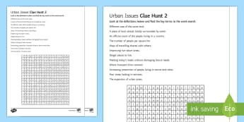 Urban Issues Clue Hunt 2 Worksheet / Activity Sheet - Urban Issues and Challenges AQA GCSE