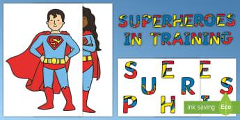 Superheroes in Training Door Display Pack - superhero, superheroes, fantasy, display, lettering, posters,