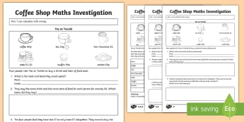 Tea Shop Maths Investigation Differentiated Activity Sheets - money, coins, change, investigate, amount, worksheets, problem solving, challenge