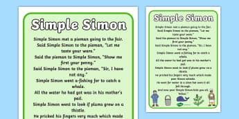 Simple Simon Nursery Rhyme Poster - rhymes, display, poems, song