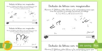 Ficha de actividad: Dictado de letras para unir los puntos.  - abecedario, une los puntos, mayúsculas, pronunciación, dibujo,,Spanish