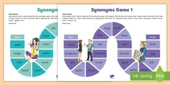 Synonyms Board Game  - oral language, synonyms, words, board game, similar words, similar meanings, word meanings,Irish