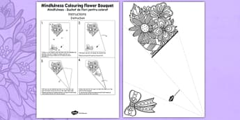 Mindfulness Colouring Flower Bouquet Romanian Translation - romanian, calm, stress relief, art, decoration, adult, colours, pattern