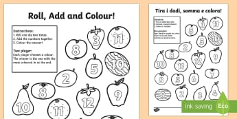 Fruit Roll and Colour Three Dice Addition Activity English/Italian - Fruit Roll and Colour Three Dice Addition Activity - fruit, roll, colour, +, adition, additon