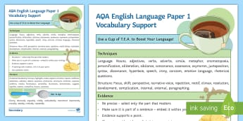 AQA English Language Paper 1 Vocabulary Support Guide - techniques, analysis, evidence, IEEL, PEE, AQA, PAPER 1, LANGUAGE PAPER 1.