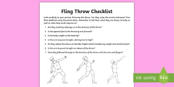 Fling Throw Technique Pupil Knowledge Sheet - Athletics, KS2, Y3, Y4, Y5, Y6, throwing, fling throw, discus, technique, pupil checklist