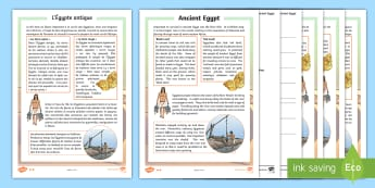 Ancient Egypt Differentiated Reading Comprehension Activity English/French - Survival in Ancient Egypt Differentiated Reading Comprehension Activity - history, english, reading,