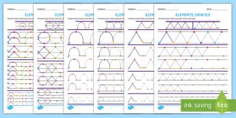Elemente grafice: Continuă după model Fișe de activitate  - motricitate fină, elemente grafice, controlul creionului, scriere, început de an școlar,Romanian