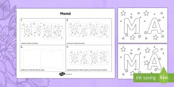 Tarjeta acordeón para mamá - Día de la madre, Mother's Day in Spain, colorea, pinta, decora, recorta, colour, decorate, cut out