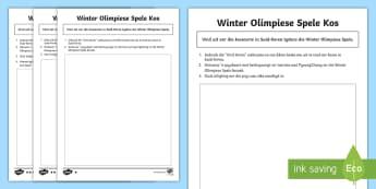 Winter Olimpiese Spele Kos Gedifferensieerde Aktiwiteitsbladsye  - medalje, spel, atletiek, sneeu, span, lande, vlae