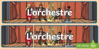 Bannière : L'orchestre - musique, music, instruments de musique, orchestre, orchestra, violon,  piano, flûte, cor, harpe, vi