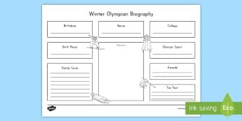 Olympian Biography Worksheet / Activity Sheet - Winter Olympics 2018, research, informational writing, Worksheet