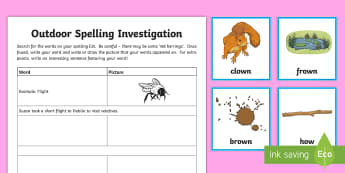 Spelling 'ou'/'ow' Outdoor Activity Pack - CfE Outdoor Learning, nature, forest, woodland, playground, game, spelling, sentence building ,Scott