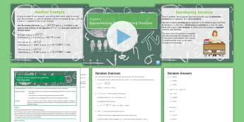 Iteration to Find Approximate Solutions Lesson Pack - Algebra, Approximation, Solving, Iterative, Functions, equation,