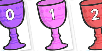 Numbers 0-100 on Goblets - 0-100, foundation stage numeracy, Number recognition, Number flashcards, counting, number frieze, Display numbers, number posters