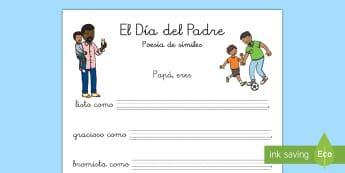 Ficha de actividad: Poesía de símiles - Día del Padre - día del padre, padre, papá, papi, símil, símiles, escritura, escribir, poesía, poema, ,Spanish