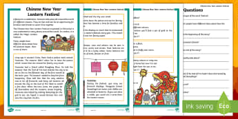 Chinese New Year Lantern Festival Differentiated Reading Comprehension Activity - Chinese New Year KS1. EYFS, Celebration, festivals, rooster, Chinese New Year Lantern Festival, fest