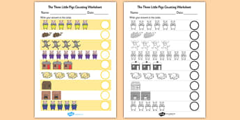 The Three Little Pigs Counting Sheet - the three little pigs, counting, worksheet, counting sheet, themed worksheet, numbers, maths, numeracy,1:1 correspondance
