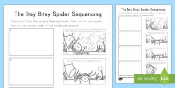 The Itsy Bitsy Spider Sequencing Activity Sheet -  nursery rhymes,  nursery rhyme sequencing, Fingerplay, hand-eye coordination, Worksheet