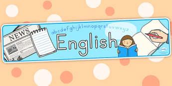 English Display Banner - english, literacy, english display