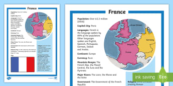 Map Of France For Ks2.France Ks2 Geography Resources