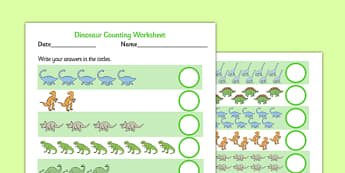 Dinosaur Counting Worksheet up to 20 - dinosaur, 1-1, one to one, counting, worksheet, 20, cardinal, numbers