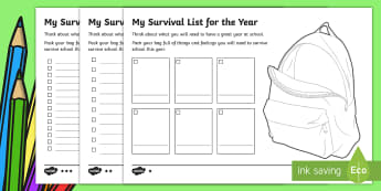 Back to School Survival List Worksheet / Activity Sheet-Australia - Back to School, transition, class introduction, getting to know you, start of the year,Australia