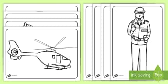 Emergency Services Colouring Sheets - emergency services, colour