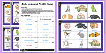 French As Tu Un Animal Lotto Game - french, at tu un animal, animal, lotto game, game, lotto