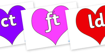 Final Letter Blends on Hearts (Multicolour) - Final Letters, final letter, letter blend, letter blends, consonant, consonants, digraph, trigraph, literacy, alphabet, letters, foundation stage literacy
